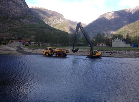 Nytt om mudringa og Lærdal fjordfront