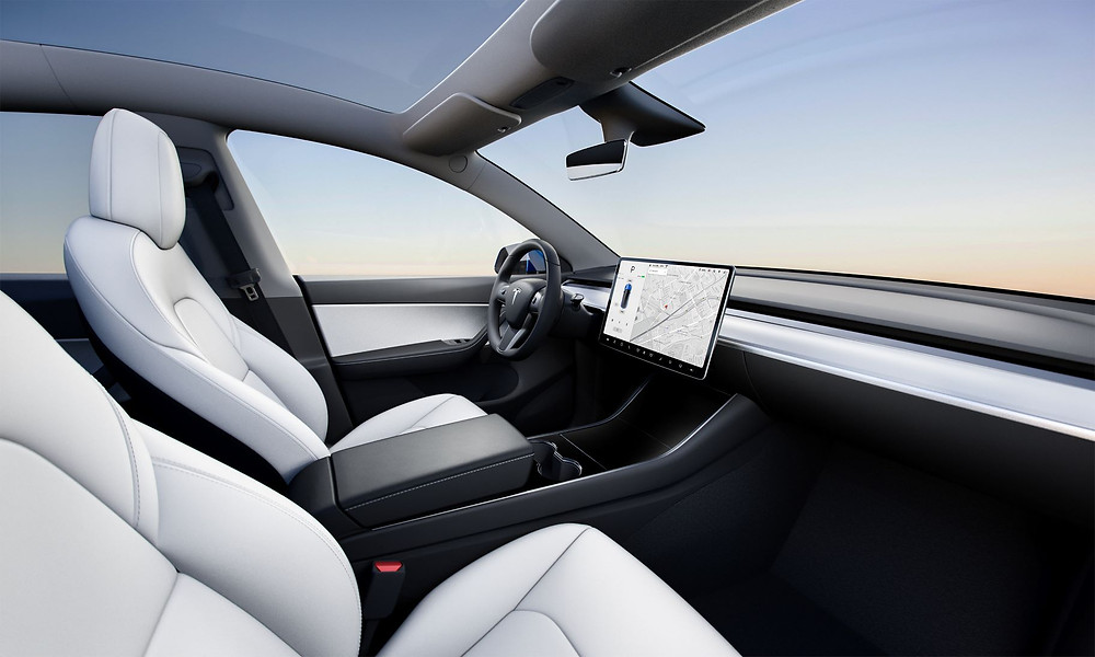 The interior of the Tesla Model Y all electric vehicle