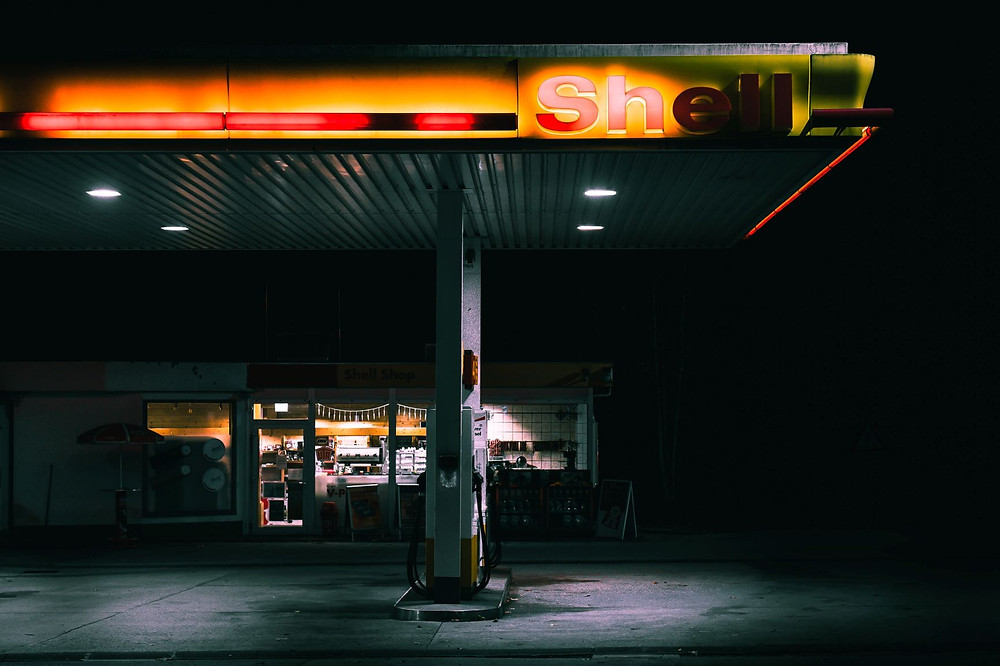 A darken Shell gas station about to be made redundant by electric vehicles