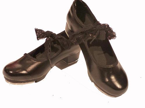 Souliers à claquettes noirs pour enfant avec ruban