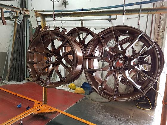 Metallic bronze powder coated rims