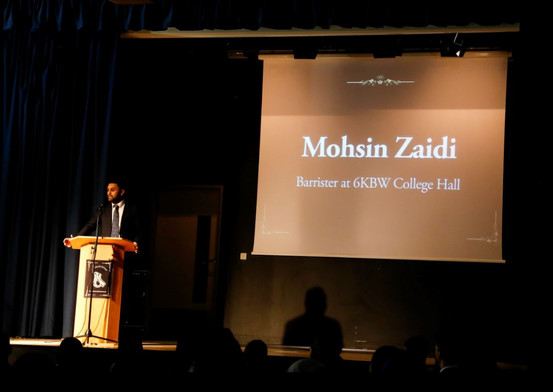 Key speaker and ex-student Mr Mohsin Zaidi, Barrister at 6KBW College Hall