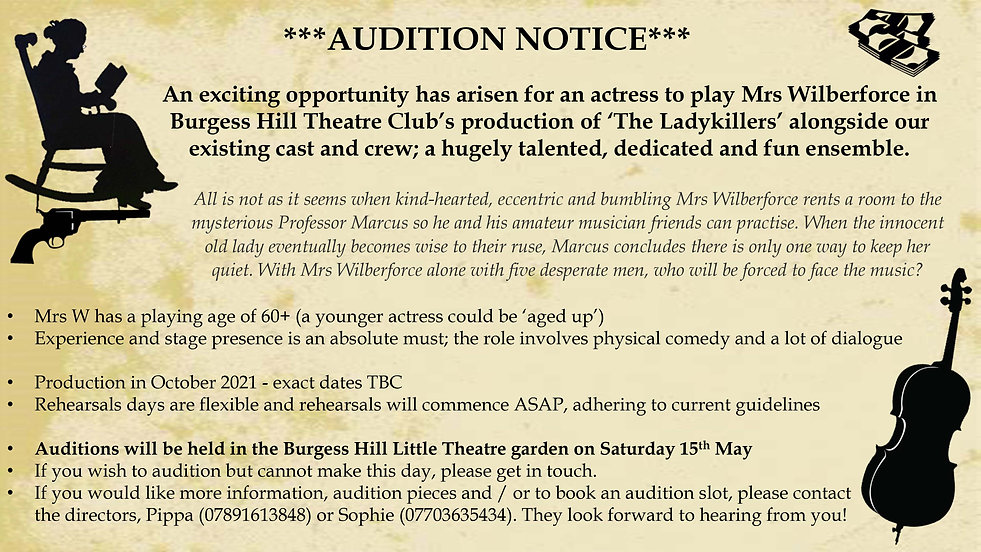 Ladykillers - Mrs W's Audition Notice.jp