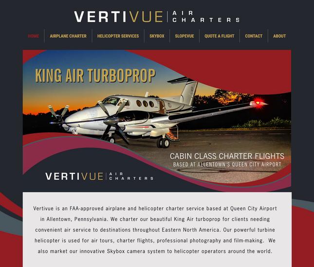 Vertivue Air Charters Website