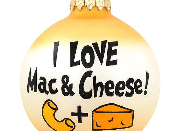 I Love Mac & Cheese Glass Ornament
