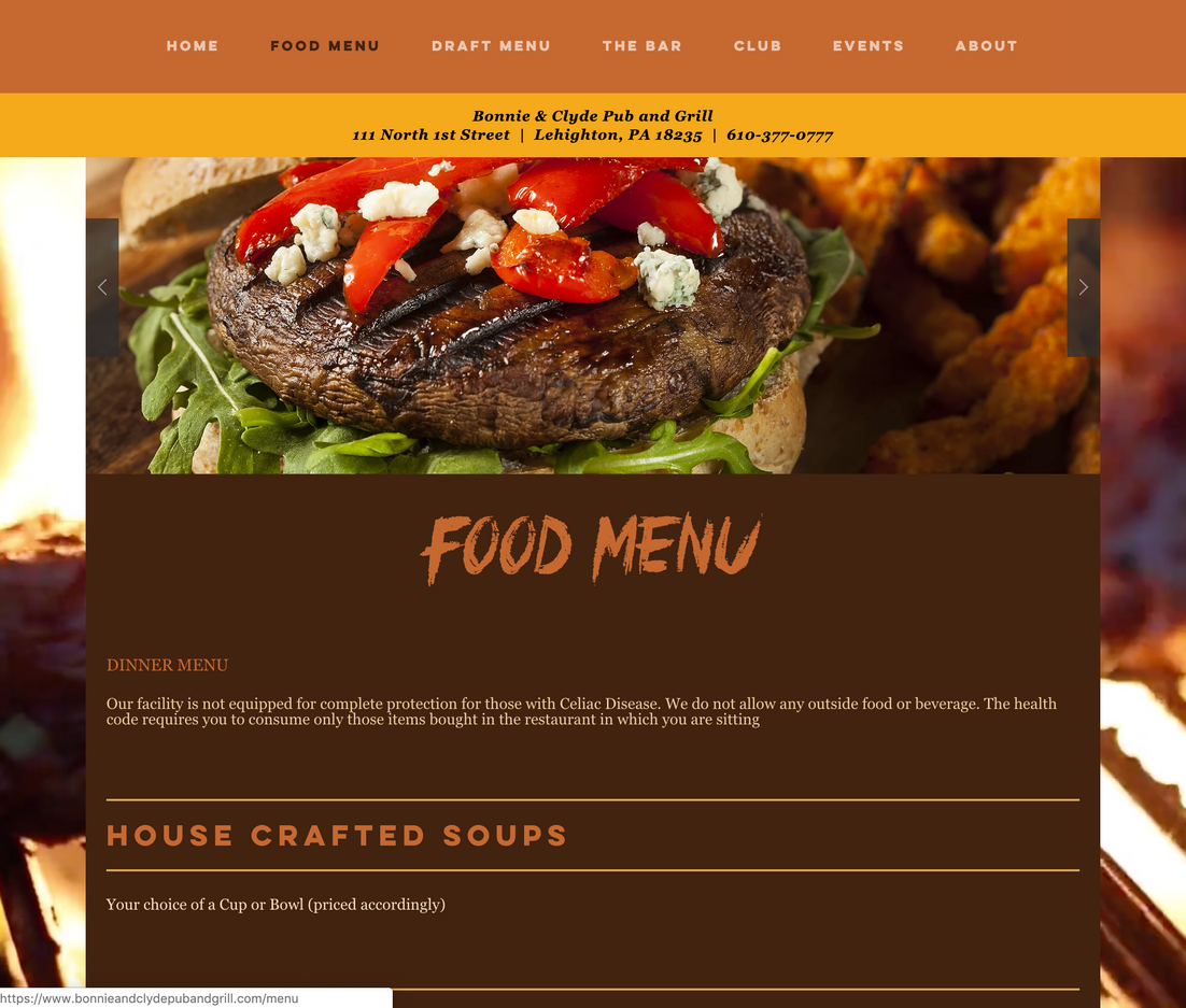 Bonnie & Clyde Pub and Grill Website