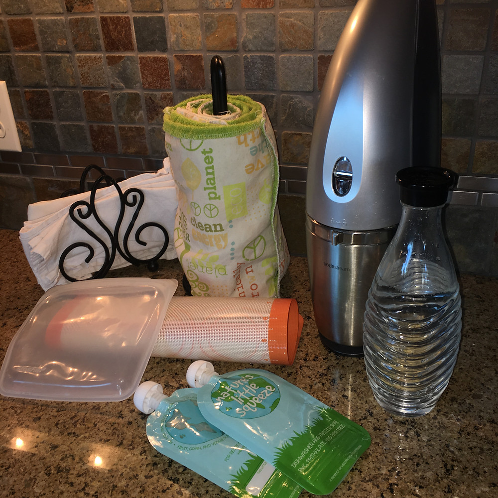Soda stream, reusable food pouch, un-paper towels, cloth napkins, silicone sandwich baggie, silicone baking sheet