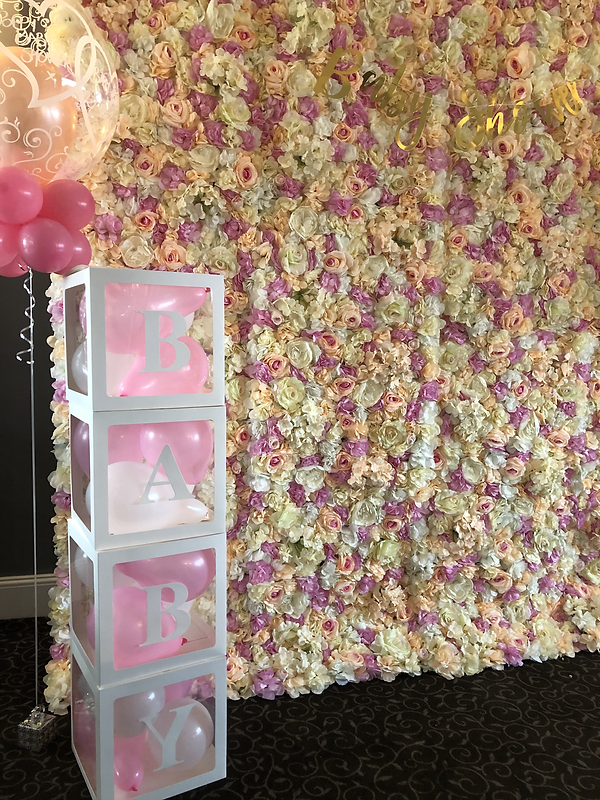 FLOWER WALL, BABY BOXES & BALLOONS