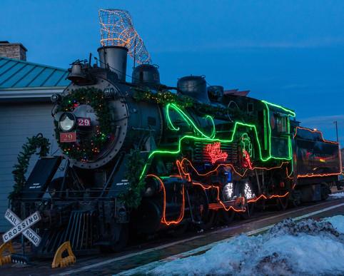 Christmas Lights on Locomotive