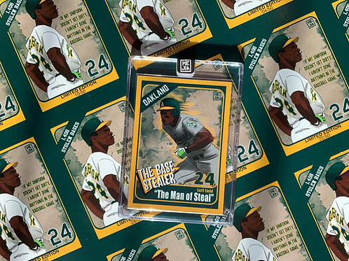 """""""The Man of Steal""""  Limited Edition illustrated baseball card"""