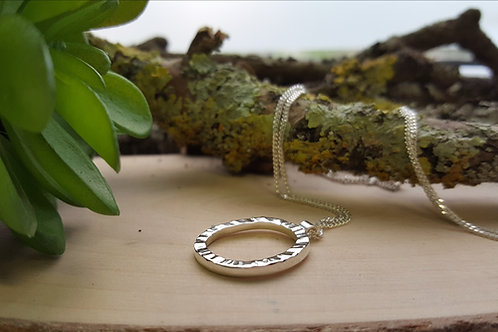 """Sterling Silver """"Pebble"""" Textured Pendant"""