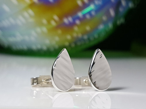 Silver Textured Teardrop Stud Earrings