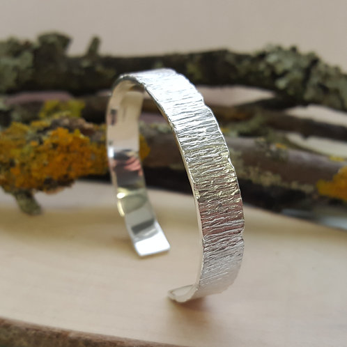 Sterling Silver Cuff Bangle - Bark Texture