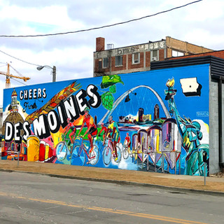 Cheers From Des Moines Exile Brewing Company, DSM  2016  This concept ties into the brewery as well as highlighting their family history, the bike scene in Des Moines, and local imagery throughout the concept.  Art Advisor: Liz Lidgett Gallery & Design