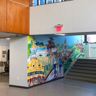 Lasting Legacy Ray Center/Drake University  2017  The purpose of this mural was to capture the legacy of Robert D and Billie Ray in the newly built Ray Center at Drake Univ. Symbolism throughout the piece captures their story as well as their impact on Iowa.  Art Advisor: Liz Lidgett Gallery & Design