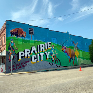 Prairie City Mural – Bike Trail Prairie City, Iowa  2019  Prairie City is home of the Neil Smith Wildlife Refuge and soon to hopefully see a bike trail connecting it to Lake Red Rock. This mural captures the crossroads of those subjects in a larger than life, fun way for people to interact with when they visit town.