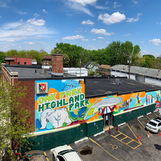 Highland/Oak Park HP/OP Neighborhoods, DSM  2019  With shout-outs to the Wild Mouse from their historical theme park as well as the soon to be installed amphitheater, high school mascot, and eclectic youth this mural developed an instant bond with residents and brightened everyones daily experience in this historic neighborhood.