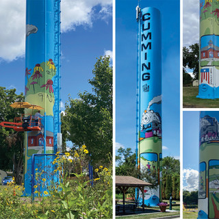 Cumming Mural City of Cumming  2020  Situated along the Great Western Trail in Cumming this unused water tower (standpipe) was designed to add color and vibrancy for local residents as well as bicyclists riding through.