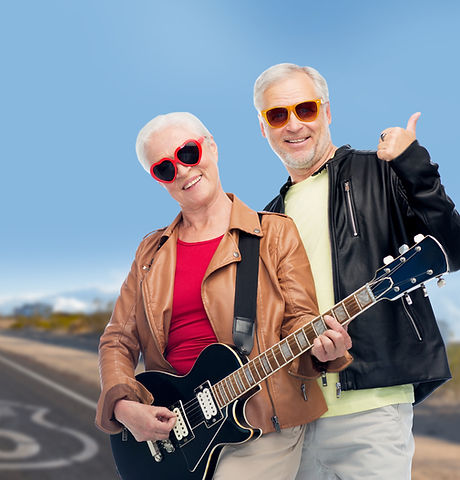 rock music, old age and travel concept -