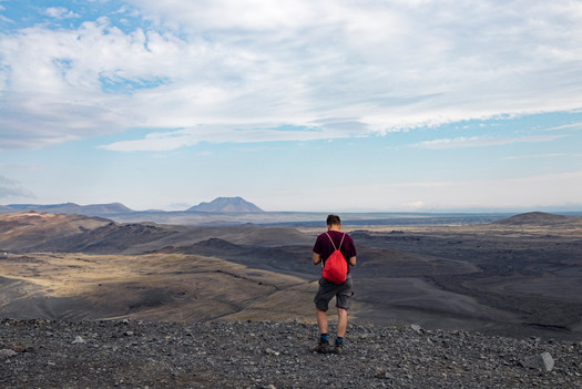 Hipster on top of a volcano, Iceland