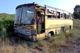 Abandoned bus in Mathraki, Greece