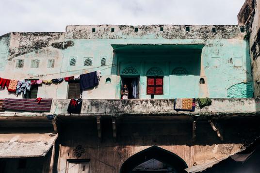 Girl on the balcony, Ajmer, India