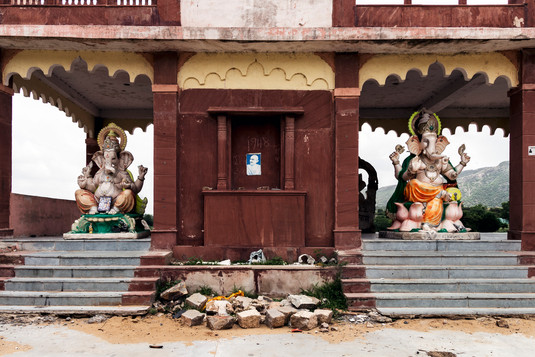 Indian temple on the road