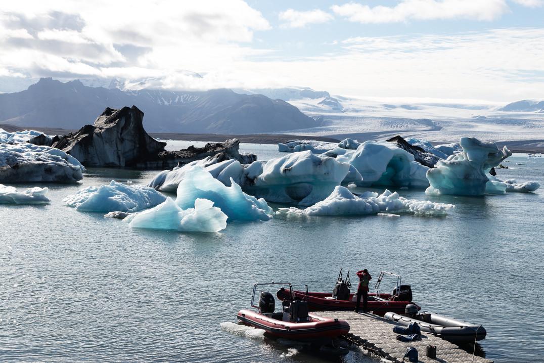 Man at a glacier lake, Iceland