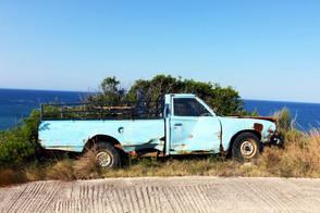Abandoned car in Mathraki, Greece