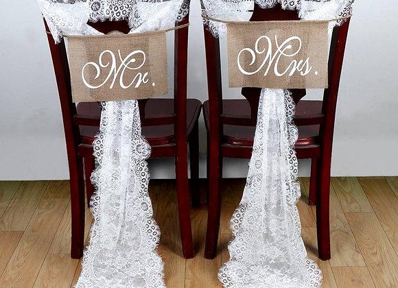 White Lace Wedding Chair Sashes