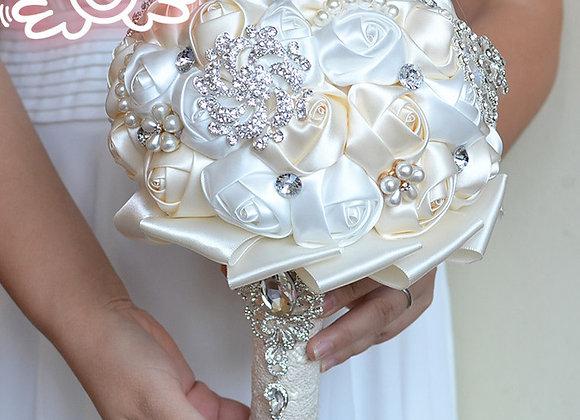 Rose Flowered & Crystal Wedding Bouquet
