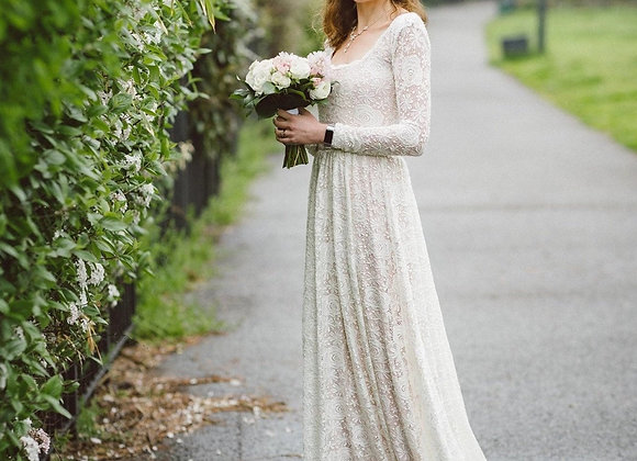 Square Neckline Vintage Inspired Wedding Dress