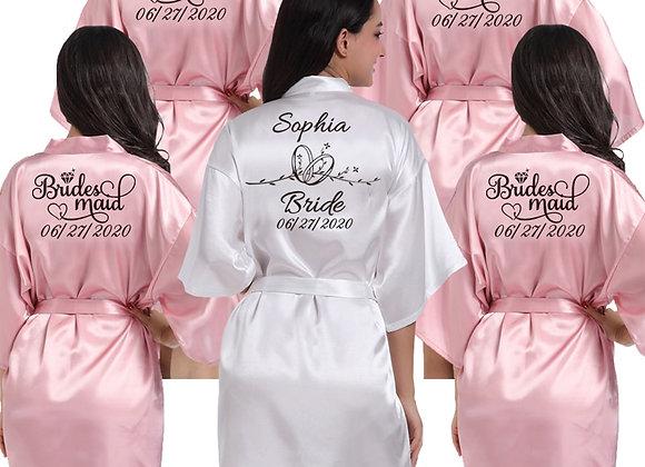 Custom Logo Weddin Faux Silk Kimono Robe