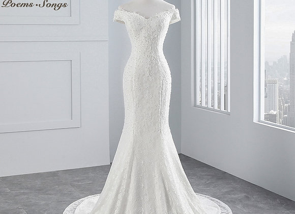Boat Neck Beautiful Mermaid Lace Wedding Dress