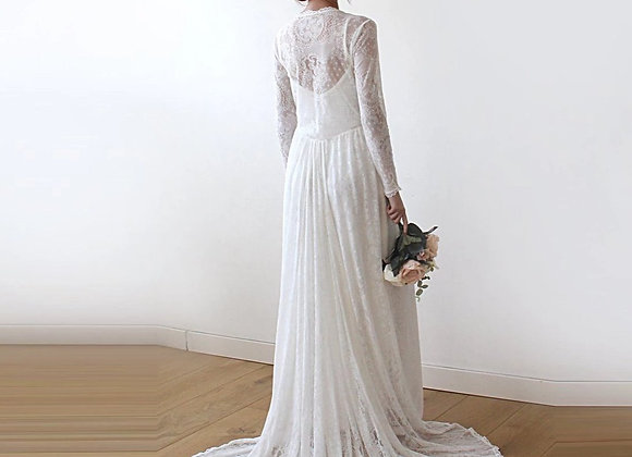 Ivory Lace Tulip Wrap, Long Sleeve Lace Wedding Dress With Train