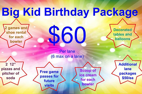 Big Kid Birthday Package