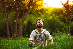 A bearded man is meditating on green gra