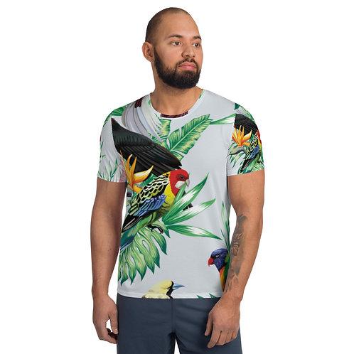 Men's Athletic T-shirt - Tropical Birds