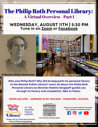 Philip Roth Personal Library Online Tour--August 11th!