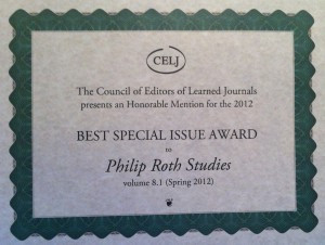Philip Roth Studies Wins CELJ Award