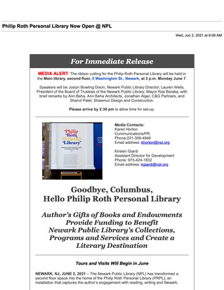 Opening of Roth Personal Library in Newark