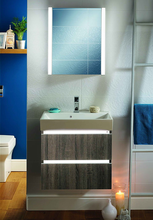 Jura LED Wall hung vanity & Front Slope Basin