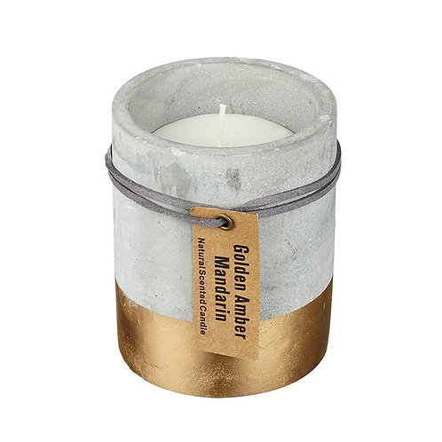 Small Concrete Half Gold Dipped Candle