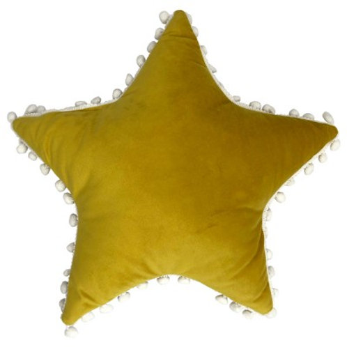 Pom Pom Star Cushion - Yellow &  White