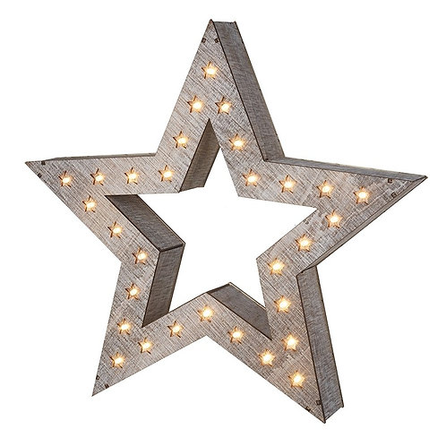 Large Wooden Star with Star Lights
