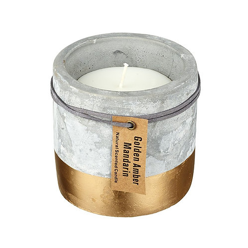 Large Concrete Half Gold Dipped Candle