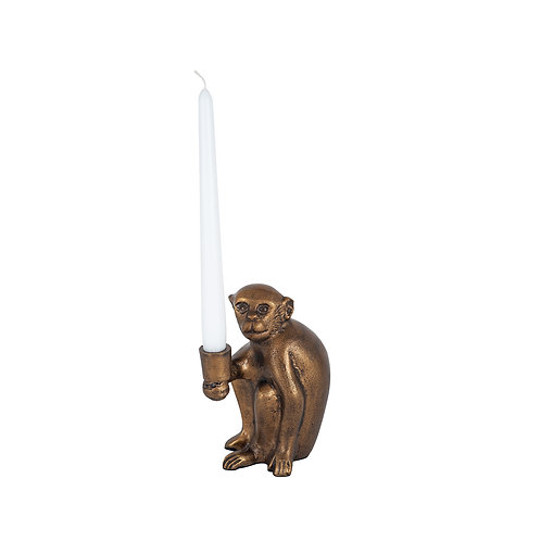 Antique Brass Monkey Candlestick