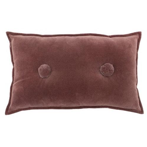 Button Velvet Cushion - Rose