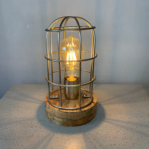 Nickel & Wood Table Cage Lamp