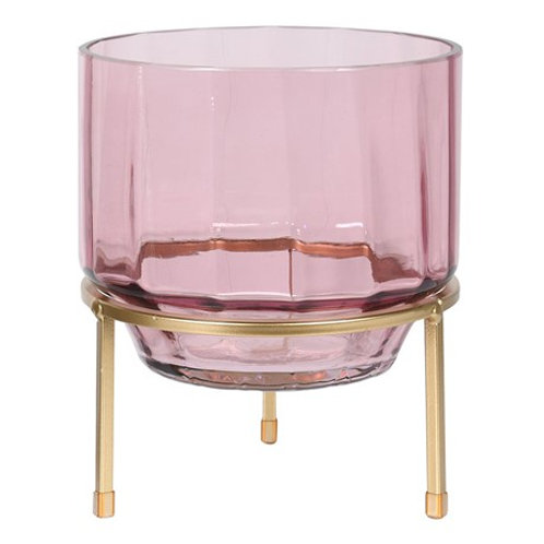 Pink Glass Hurricane on Stand